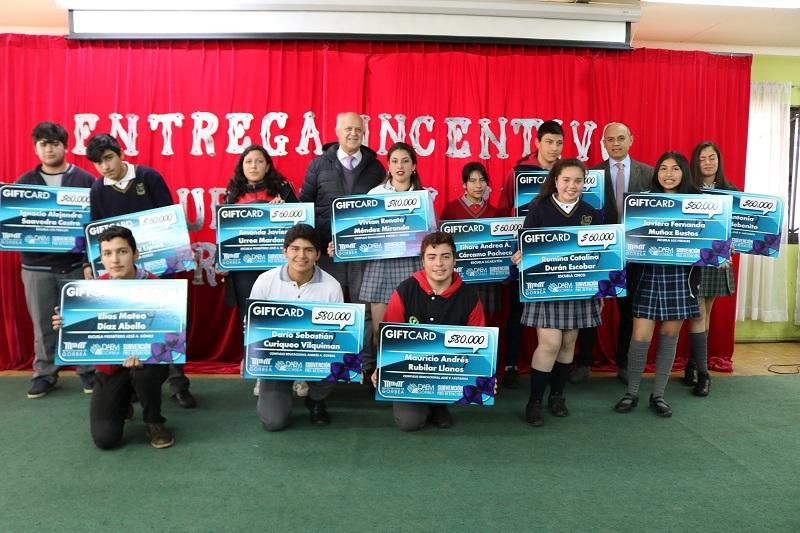 Alcalde y DAEM hacen entrega de Gifcard a estudiantes Pro Retención